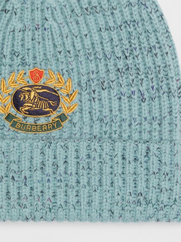 Embroidered Archive Logo Wool Blend Beanie in Blue Topaz | Burberry - cell image 1
