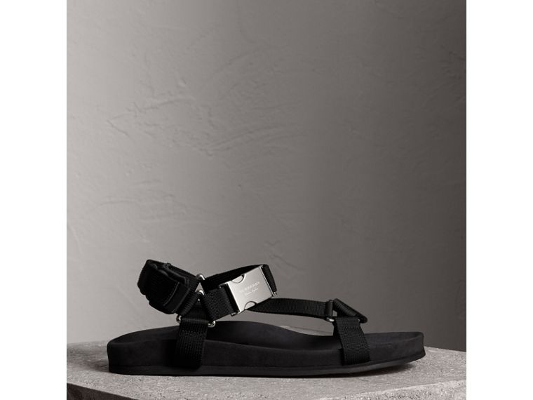 Three-point Strap Ripstop Sandals in Black - Men | Burberry Hong Kong - cell image 4