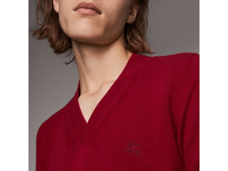 Cashmere V-neck Sweater in Crimson Red - Men | Burberry Singapore - cell image 1