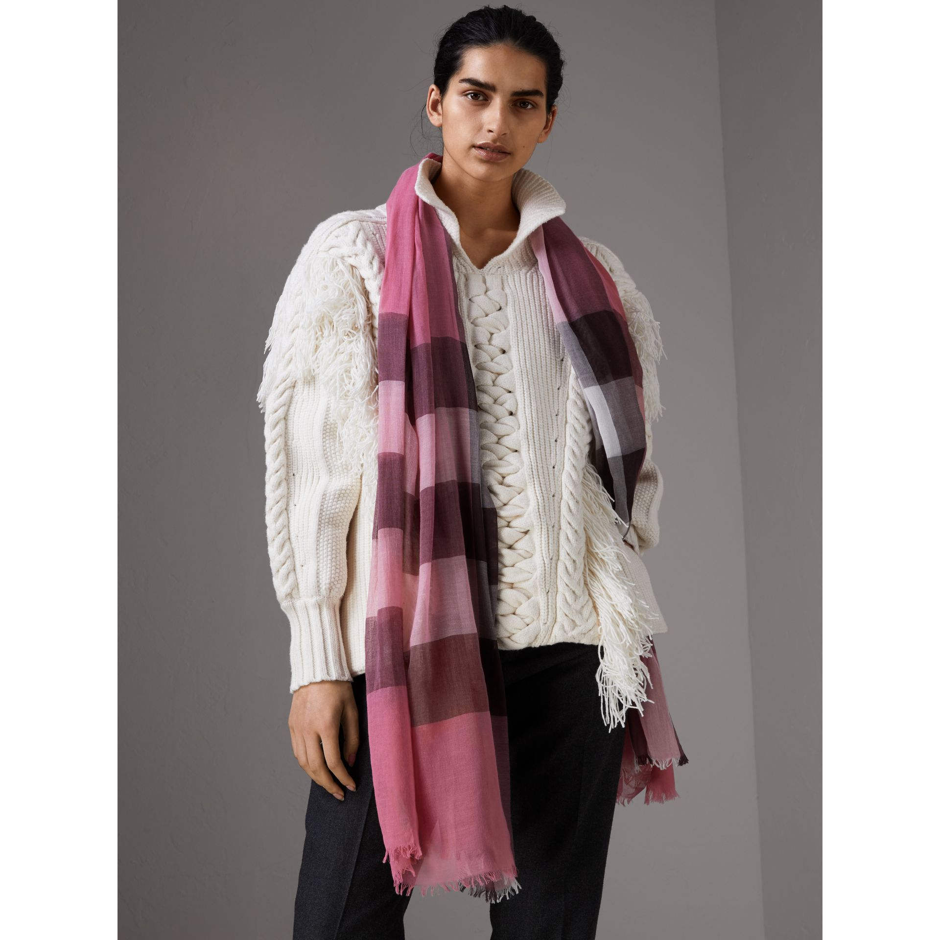Check Modal Cashmere and Silk Scarf in Rose Pink - Women | Burberry - gallery image 3