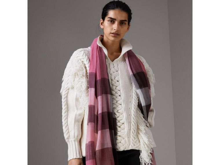 Check Modal Cashmere and Silk Scarf in Rose Pink - Women | Burberry - cell image 2