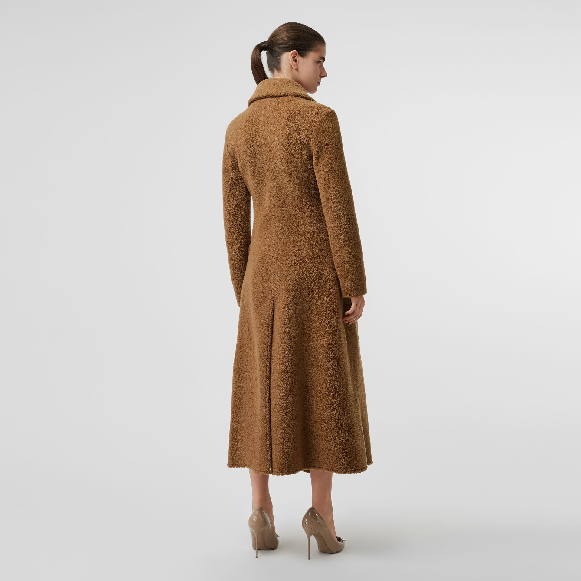Shearling Tailored Coat in Caramel - Women | Burberry - gallery image 2