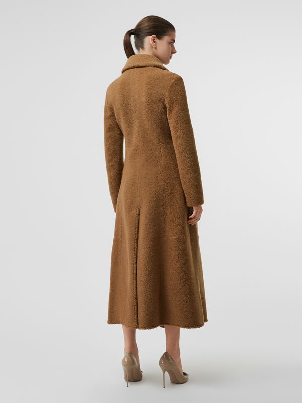 Shearling Tailored Coat in Caramel - Women | Burberry - cell image 2