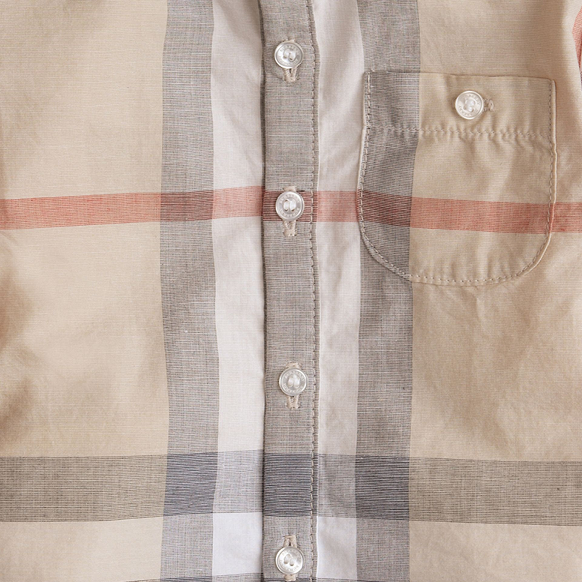 Washed Check Cotton Shirt in Pale Classic - Boy | Burberry Canada - gallery image 1
