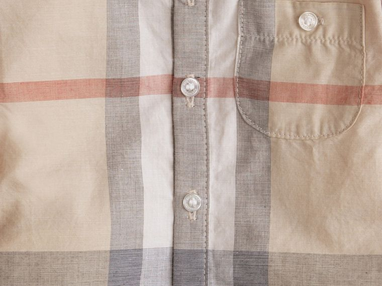 Washed Check Cotton Shirt in Pale Classic - Boy | Burberry Canada - cell image 1