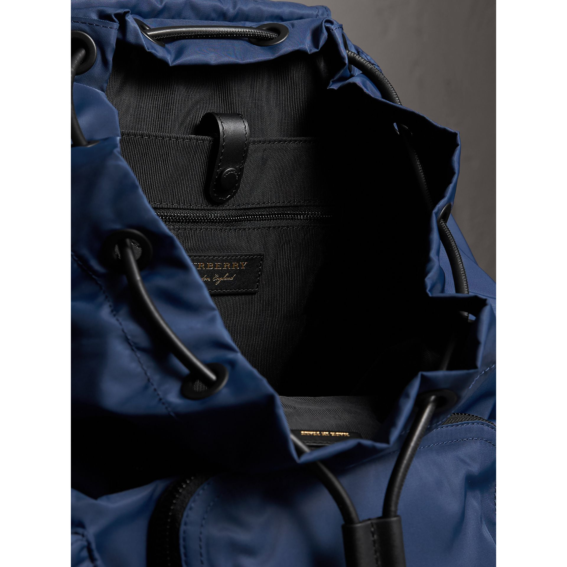 The Large Rucksack in Technical Nylon and Leather in Steel Blue - Men | Burberry Australia - gallery image 5