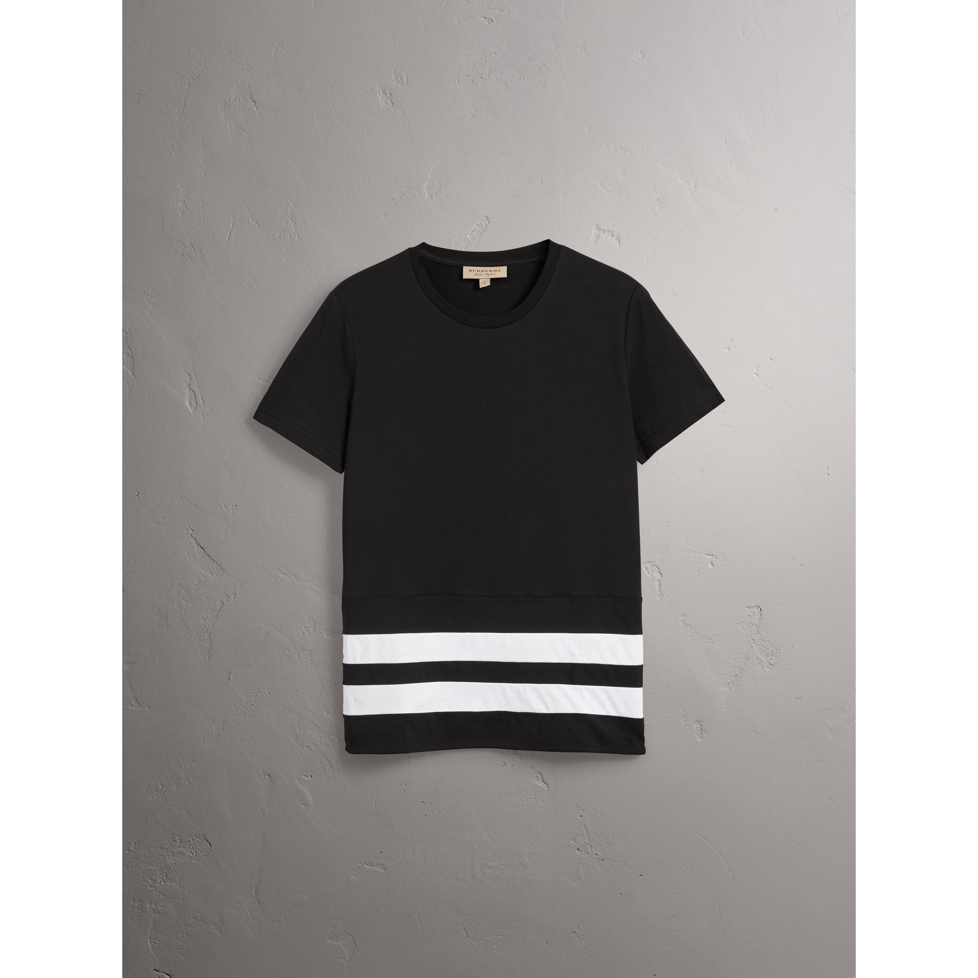 Striped Hem Cotton T-shirt in Black - Men | Burberry - gallery image 4