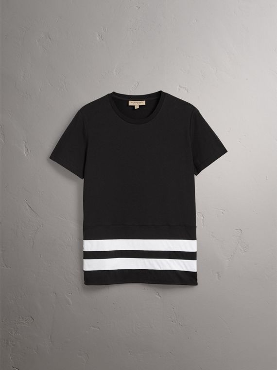 Striped Hem Cotton T-shirt in Black - Men | Burberry - cell image 3