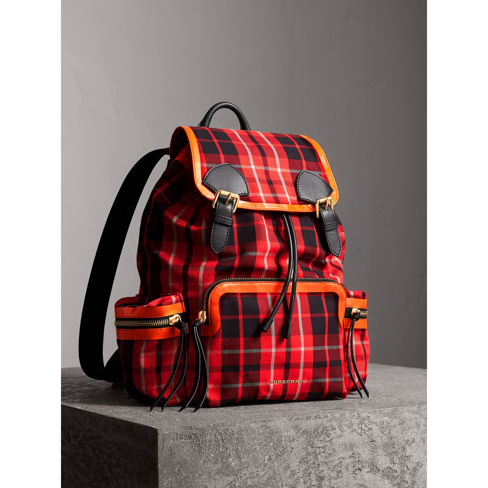 The Large Rucksack in Tartan Check Cotton in Vibrant Red | Burberry - gallery image 1