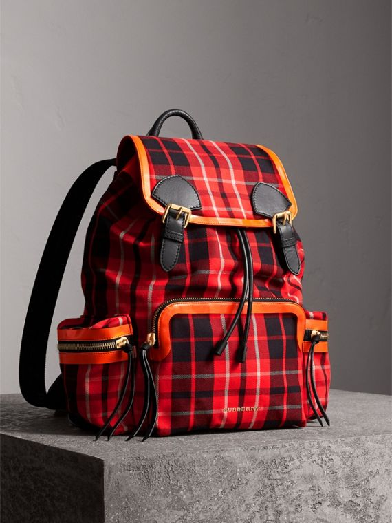 The Large Rucksack in Tartan Check Cotton in Vibrant Red