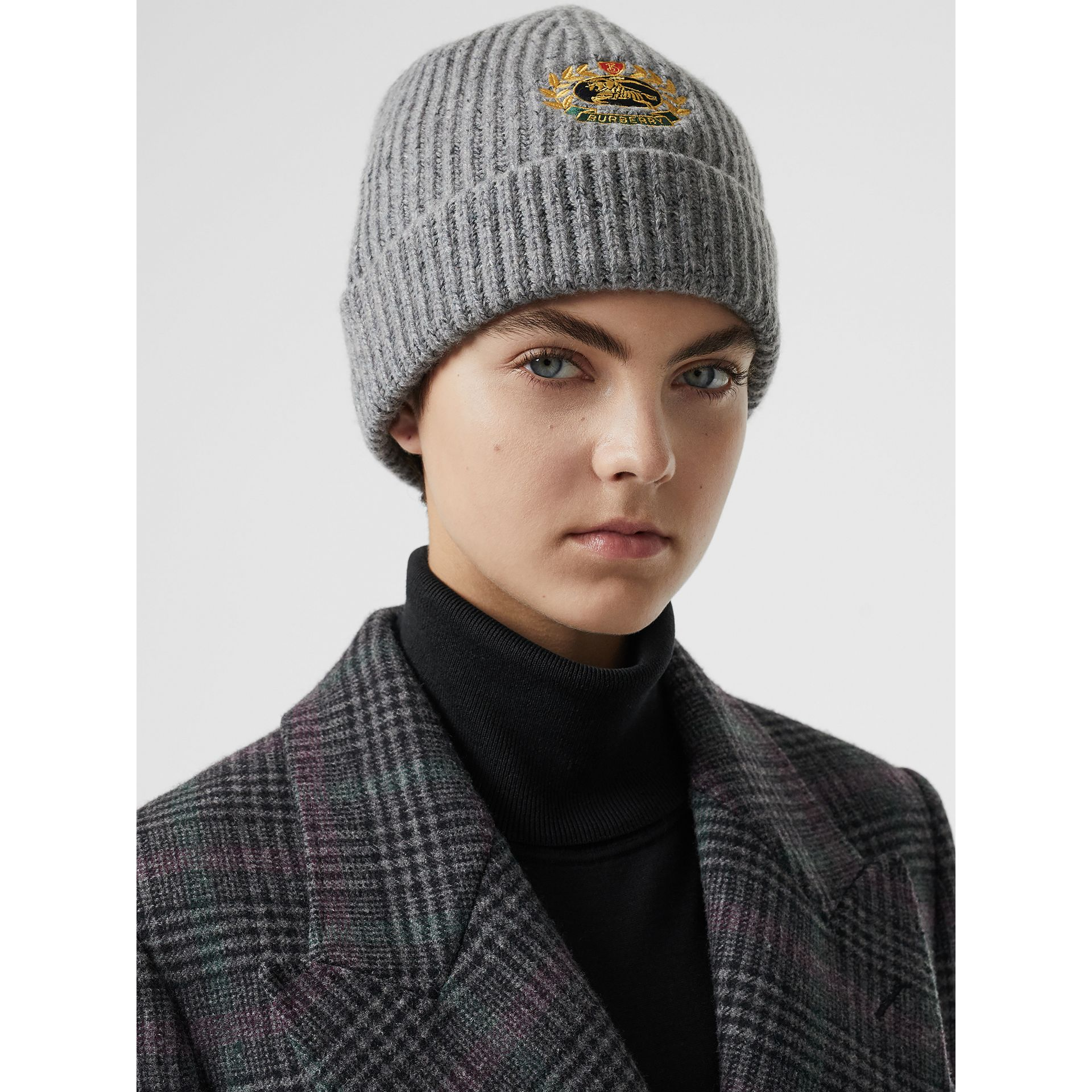 Embroidered Archive Logo Wool Blend Beanie in Grey Melange | Burberry Singapore - gallery image 2