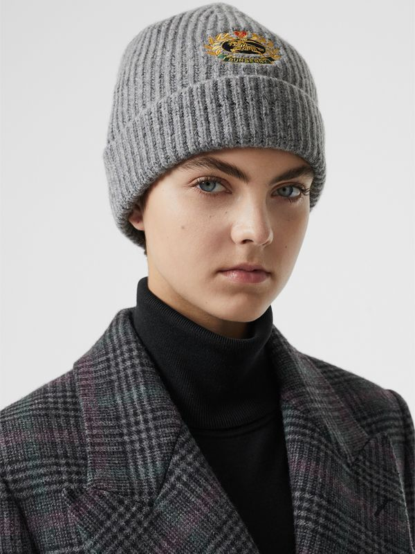 Embroidered Archive Logo Wool Blend Beanie in Grey Melange | Burberry Singapore - cell image 2
