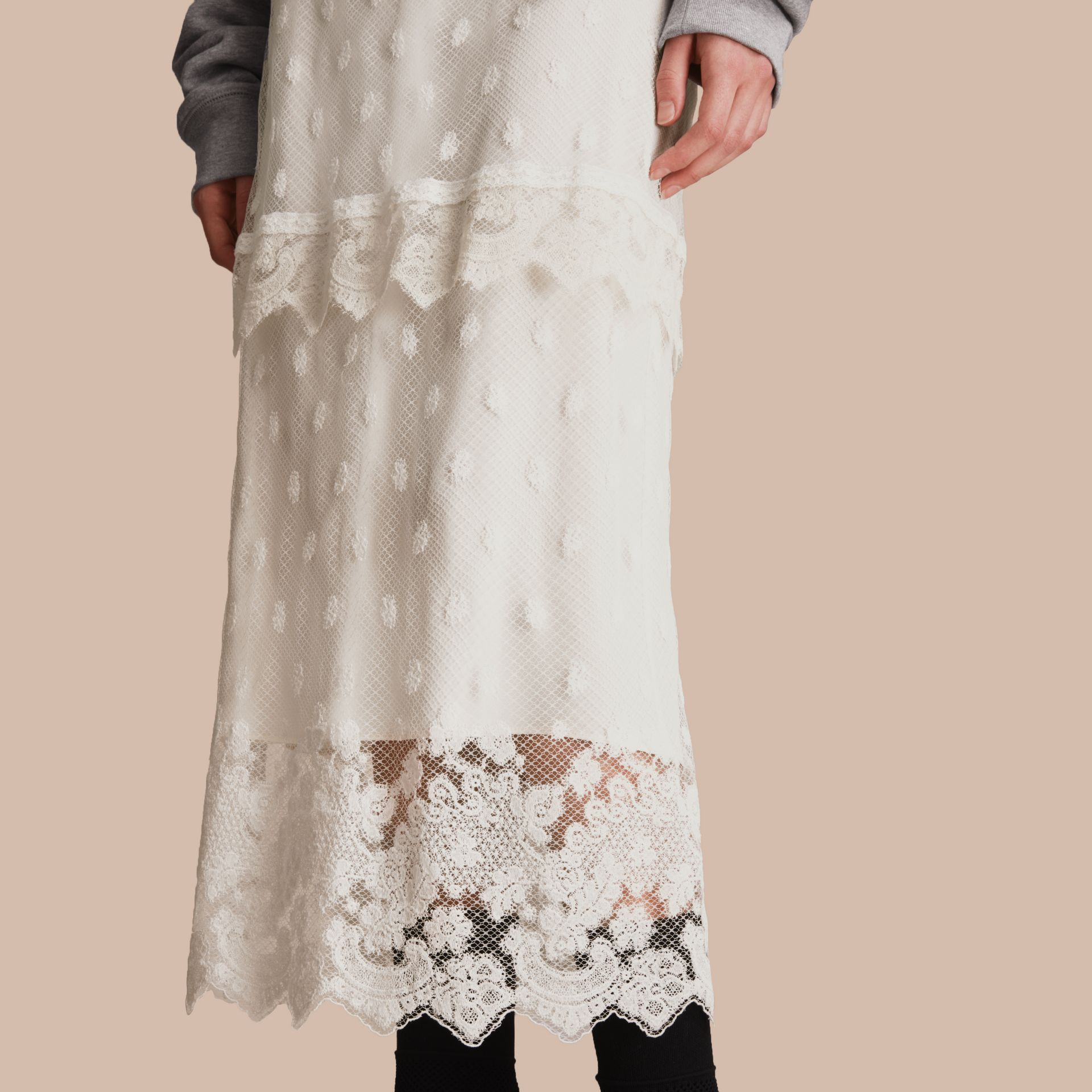 Embroidered Tulle Panelled Skirt in Off White - Women | Burberry - gallery image 5