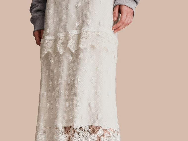 Embroidered Tulle Panelled Skirt in Off White - Women | Burberry - cell image 4