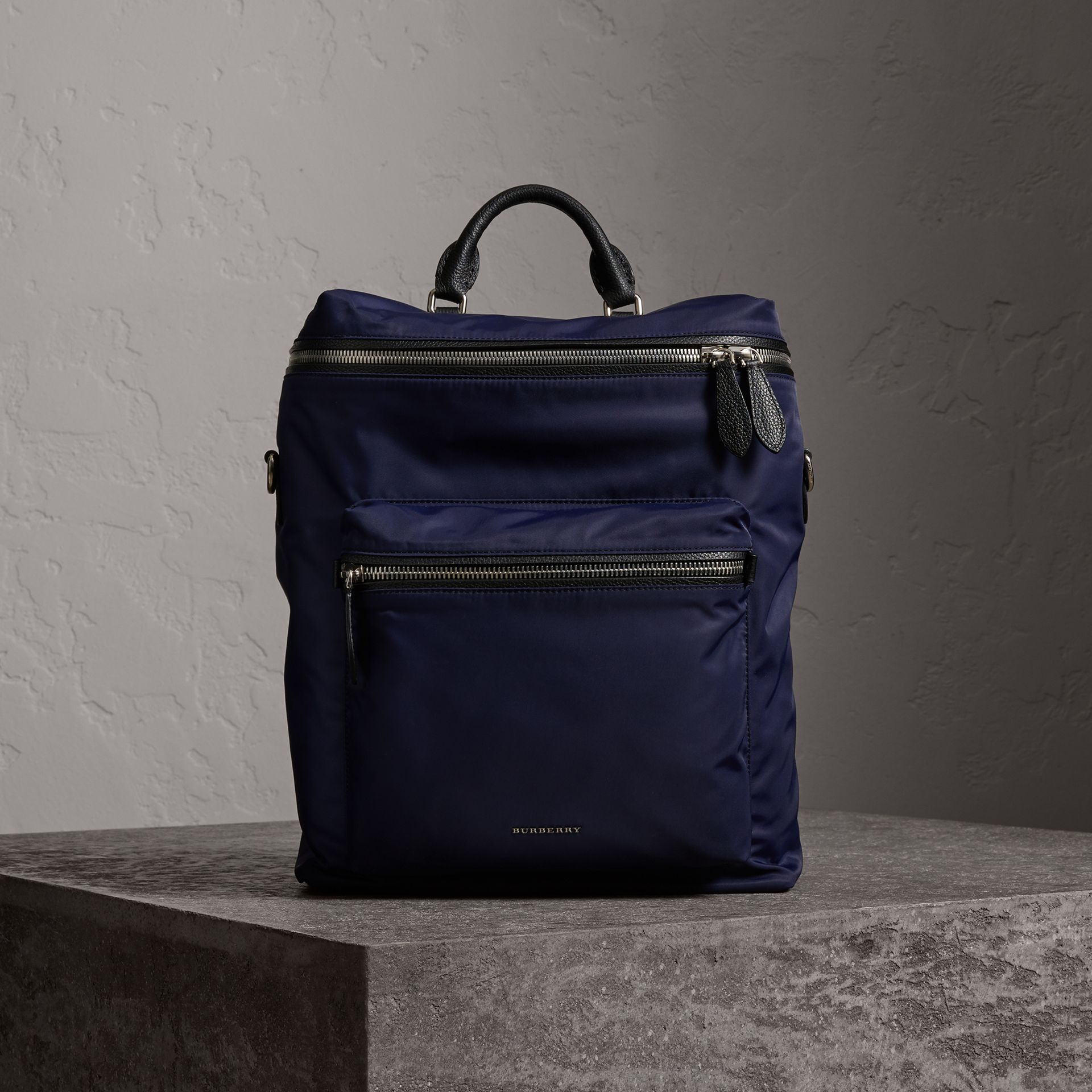 Zip-top Leather Trim Showerproof Backpack in Dark Navy - Men | Burberry - gallery image 0