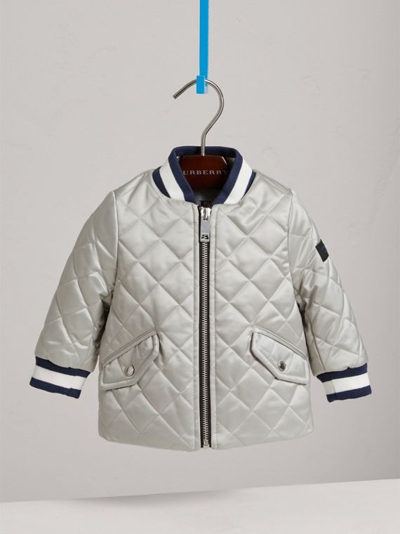 Diamond Quilted Satin Bomber Jacket in Silver