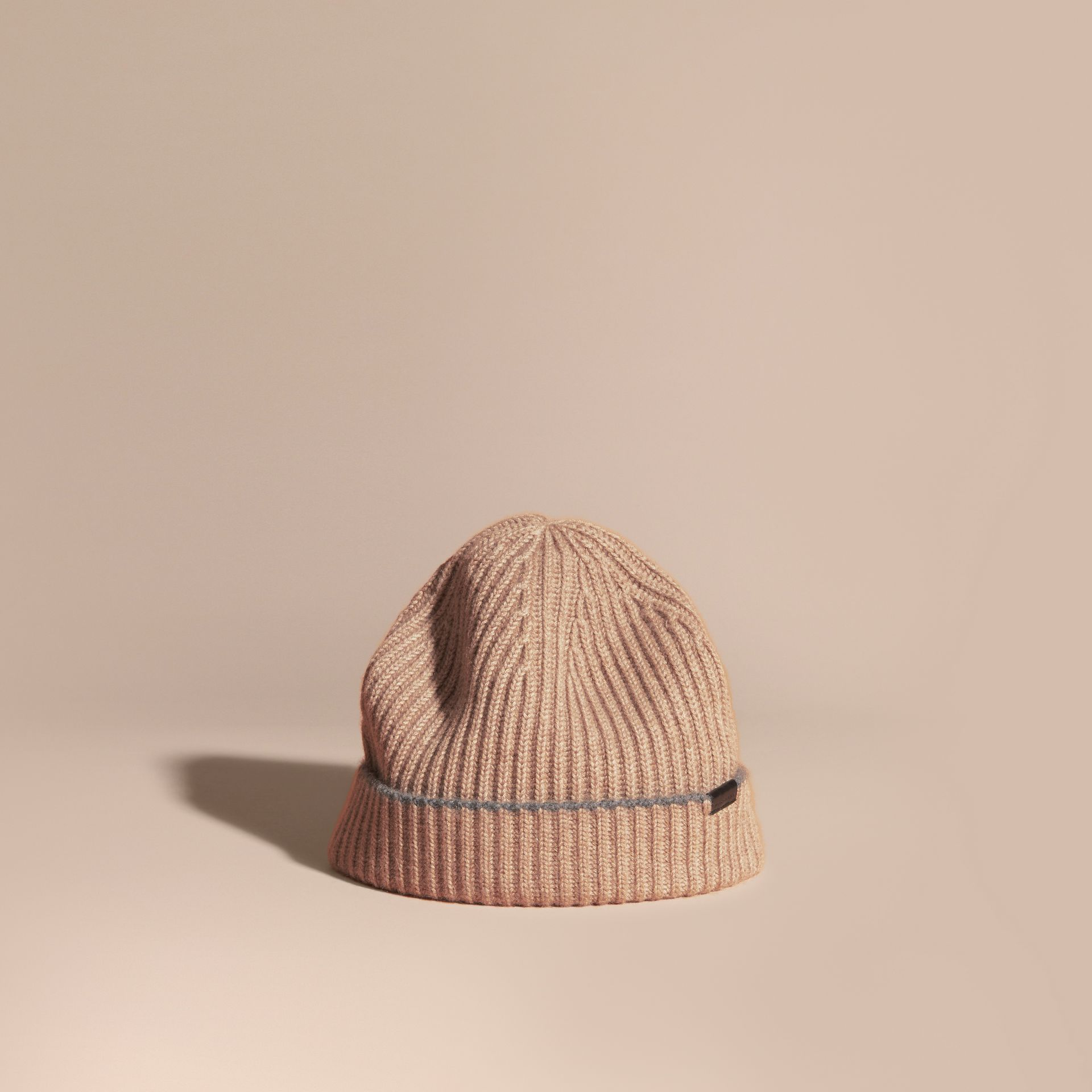 Mink grey/mid grey Ribbed Cashmere Beanie with Border Detail Mink Grey/mid Grey - gallery image 1