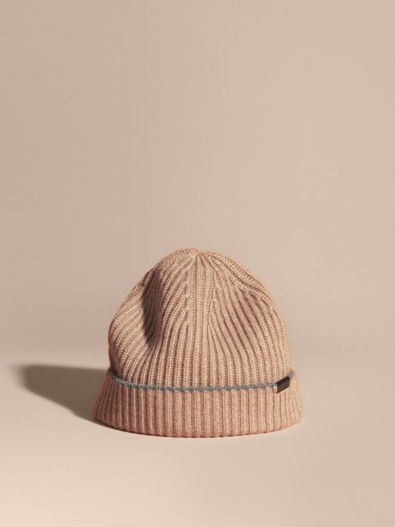 Ribbed Cashmere Beanie with Border Detail Mink Grey/mid Grey