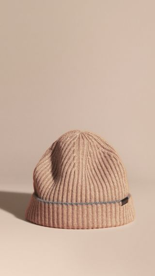 Ribbed Cashmere Beanie with Border Detail