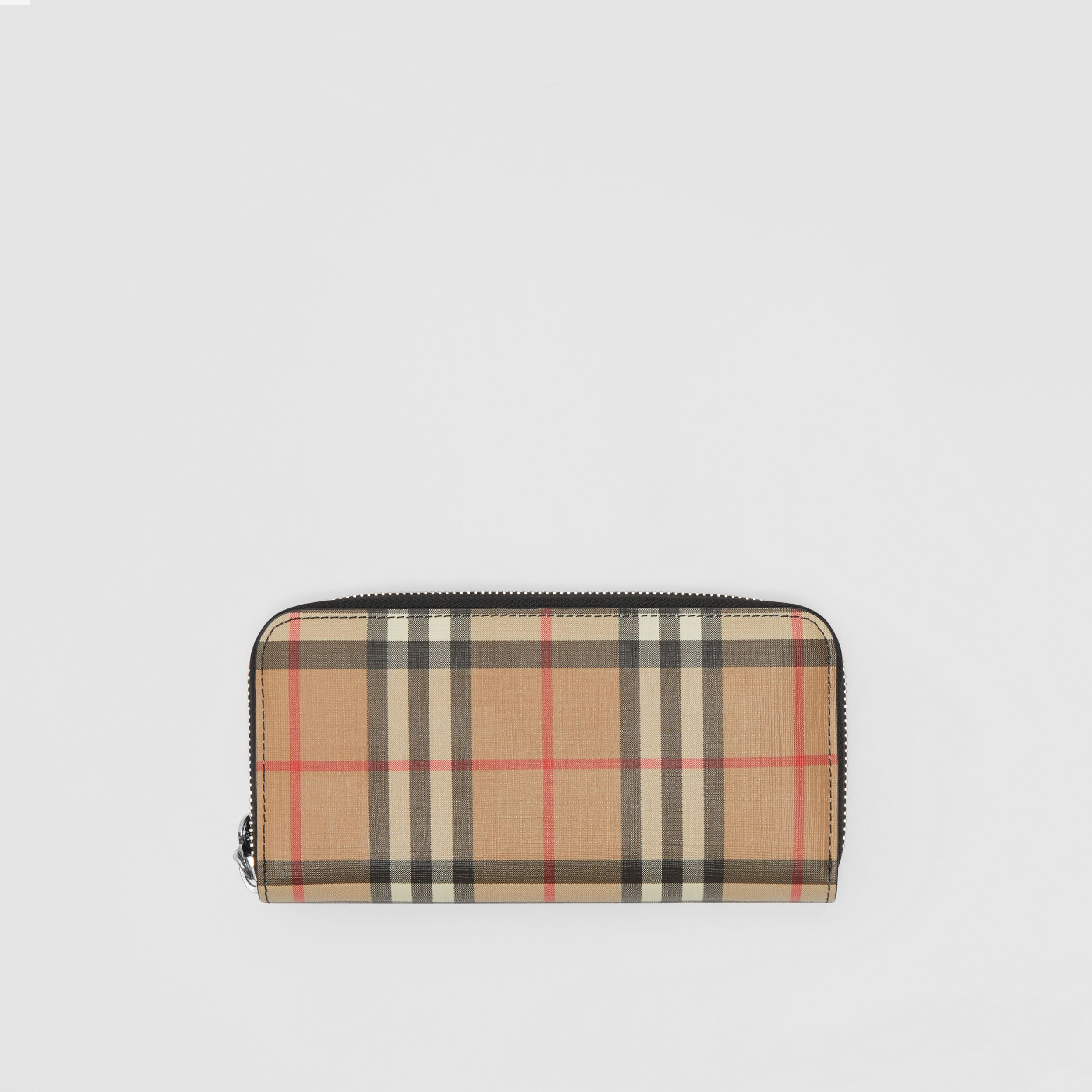 Vintage Check and Leather Ziparound Wallet in Black - Women | Burberry - 1