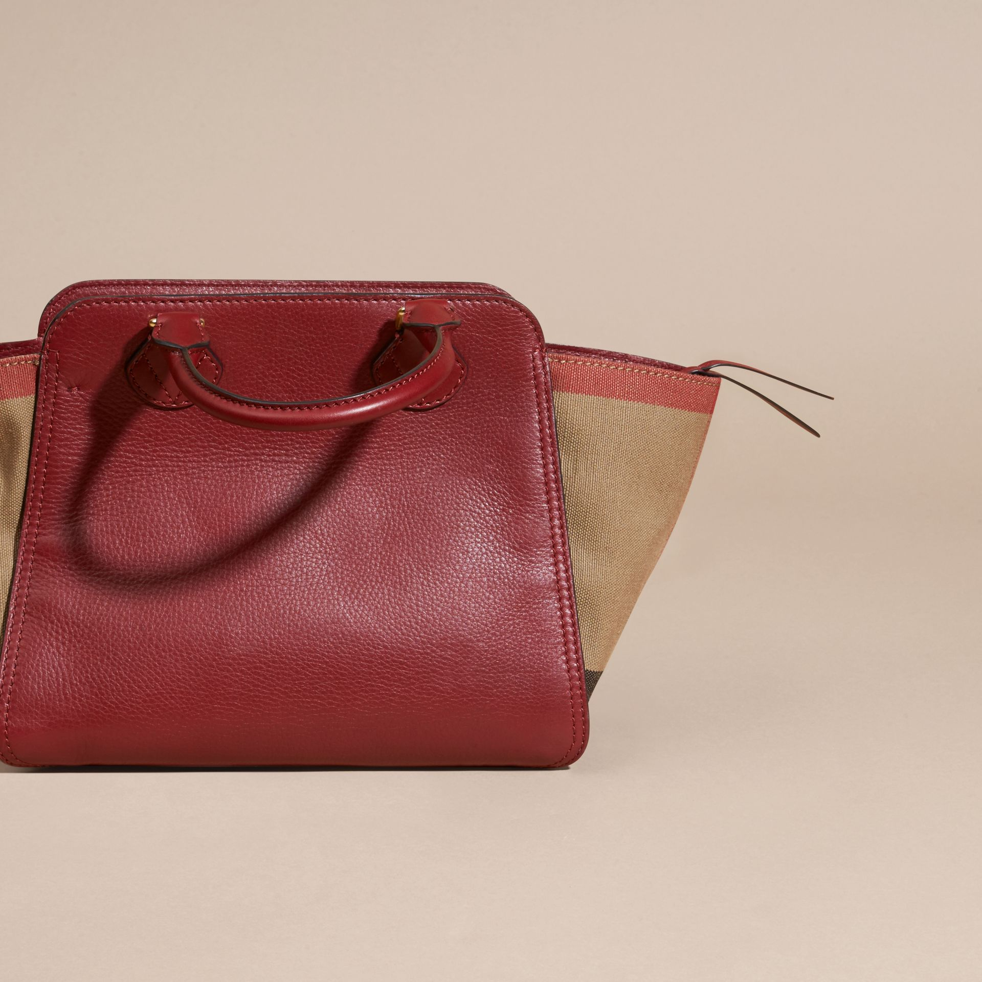 Burgundy red Medium Canvas Check and Leather Tote Bag Burgundy Red - gallery image 4