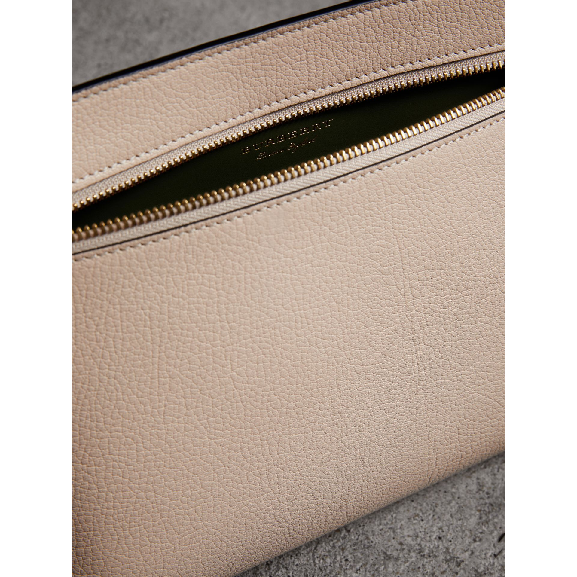 Grainy Leather Wristlet Clutch in Stone - Women | Burberry - gallery image 6