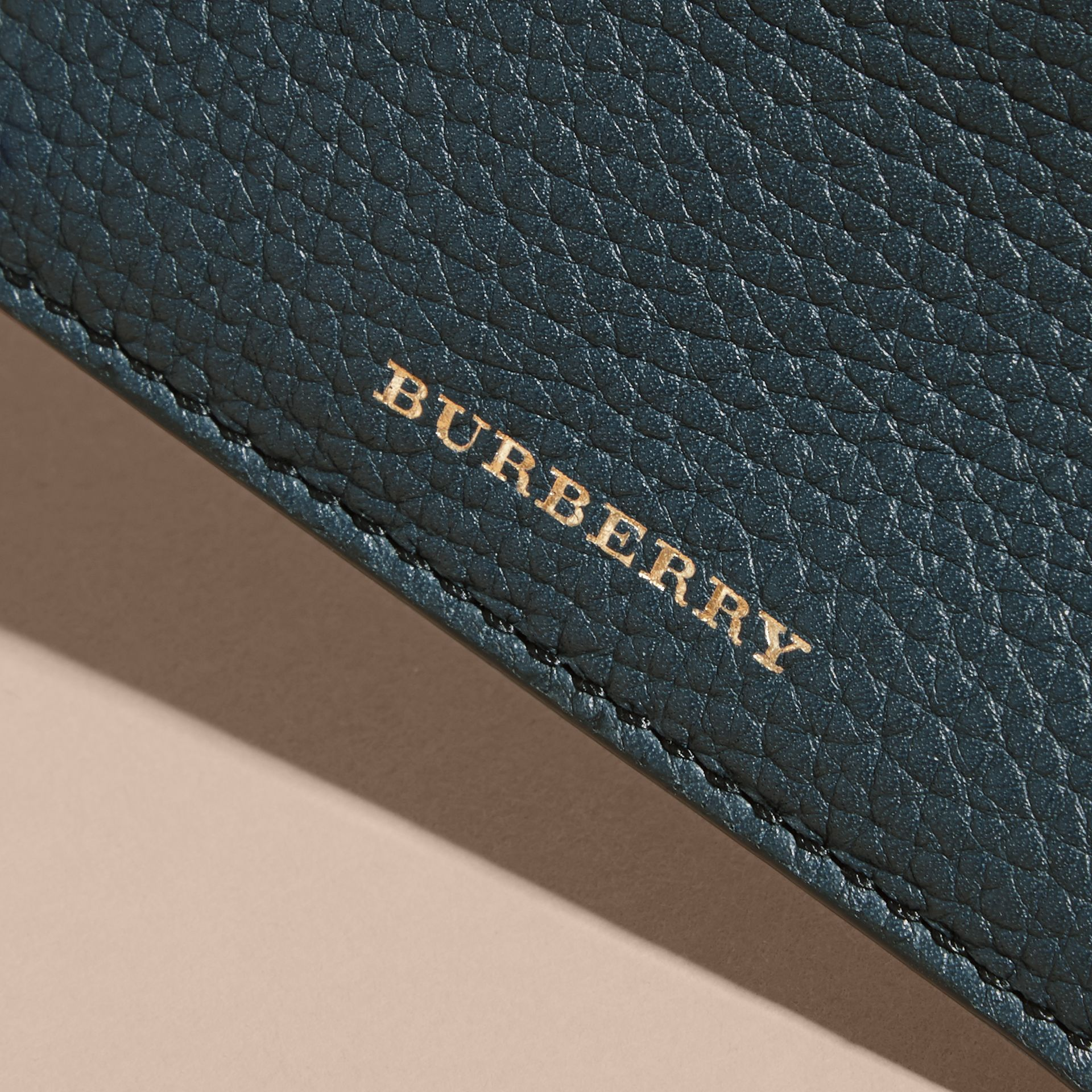 House Check and Grainy Leather Card Case in Storm Blue | Burberry - gallery image 4