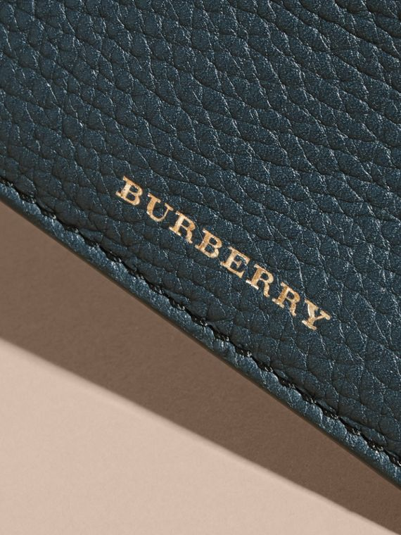 House Check and Grainy Leather Card Case in Storm Blue | Burberry Australia - cell image 3