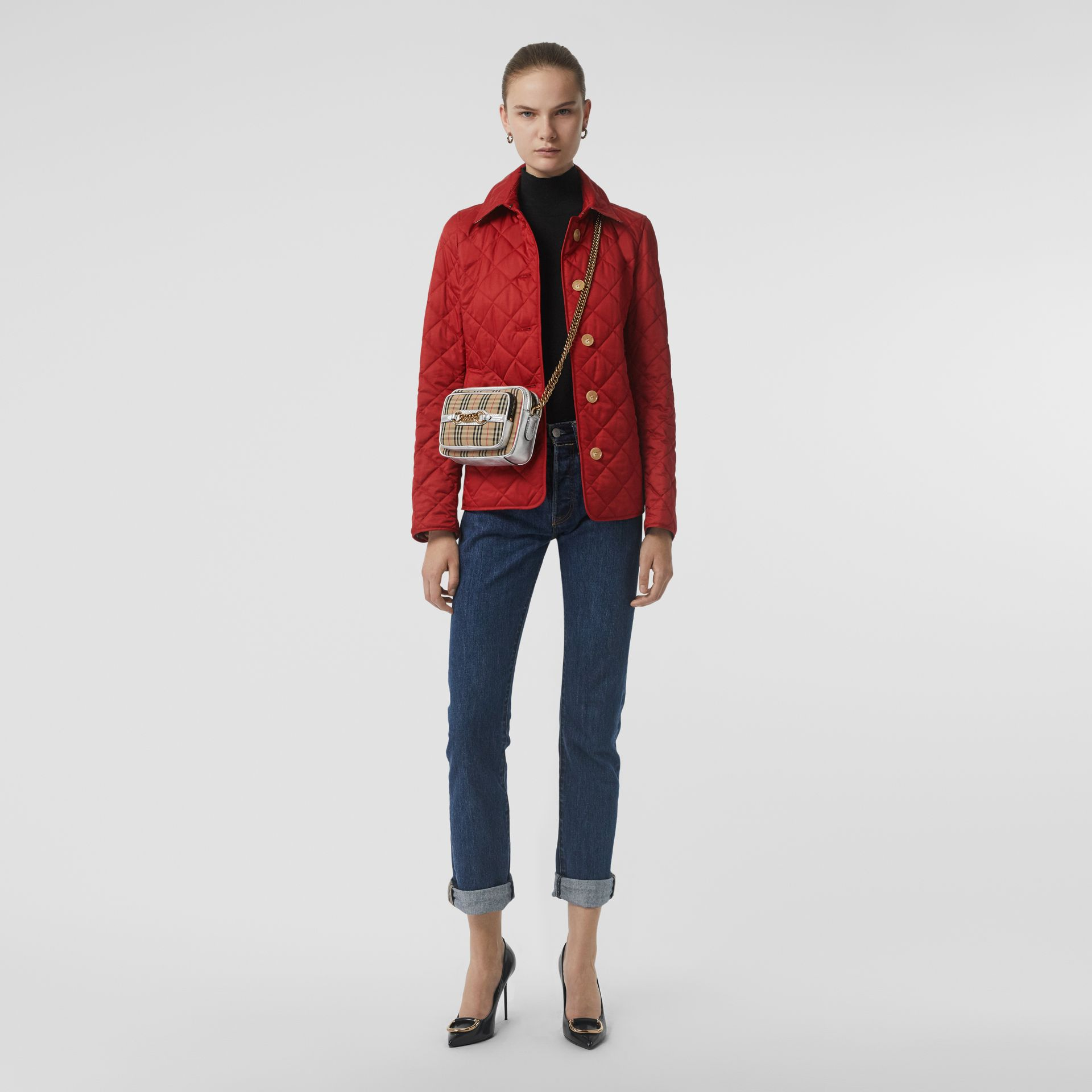 Diamond Quilted Jacket in Military Red - Women | Burberry United Kingdom - gallery image 0