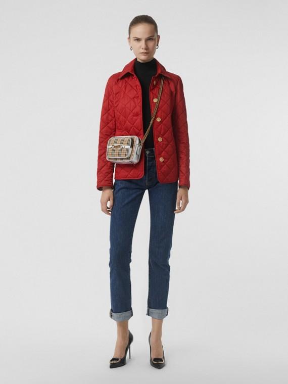 菱形絎縫外套 (軍紅色)