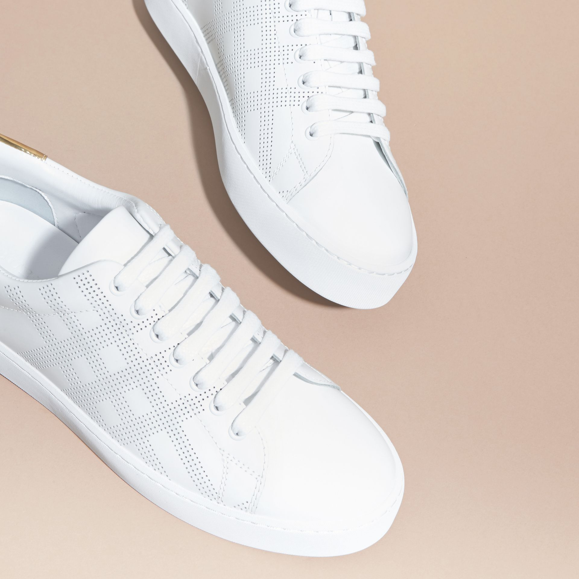 Perforated Check Leather Trainers Optic White - gallery image 3