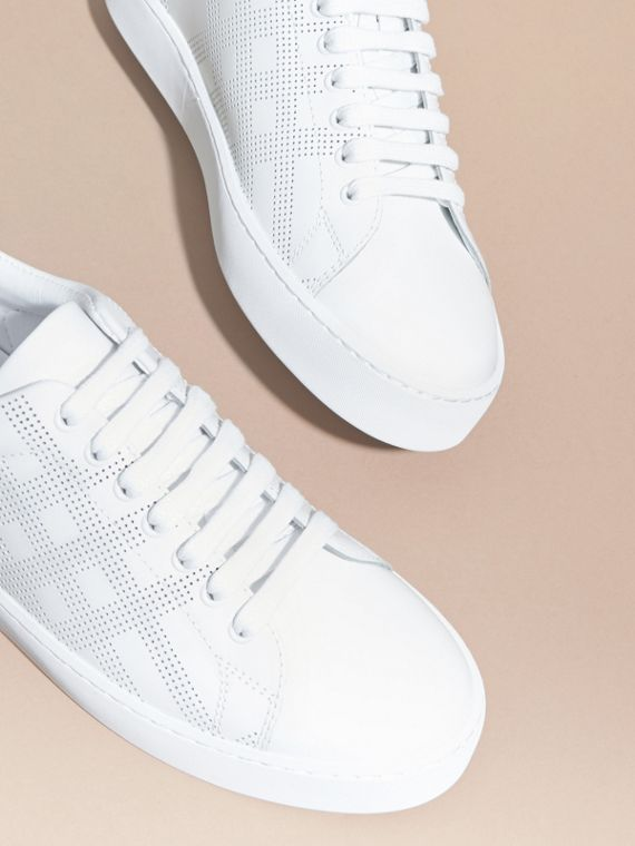 Optic white Perforated Check Leather Trainers Optic White - cell image 2