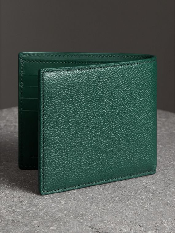 Grainy Leather International Bifold Wallet in Dark Cyan - Men | Burberry Singapore - cell image 2
