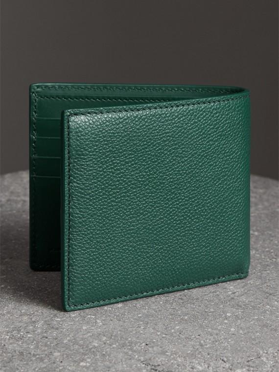 Grainy Leather International Bifold Wallet in Dark Cyan - Men | Burberry Canada - cell image 2