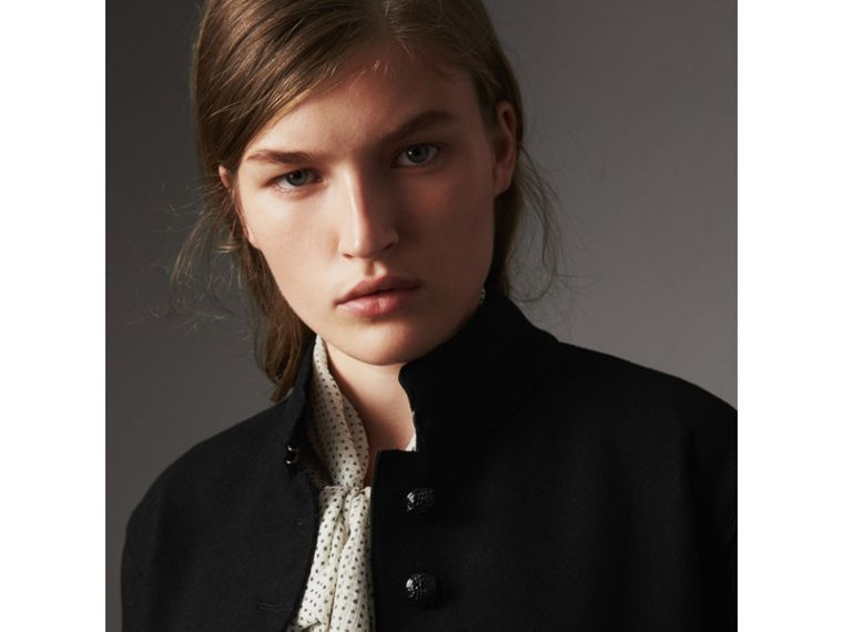 Wool Blend Military Jacket in Black - Women | Burberry - cell image 1