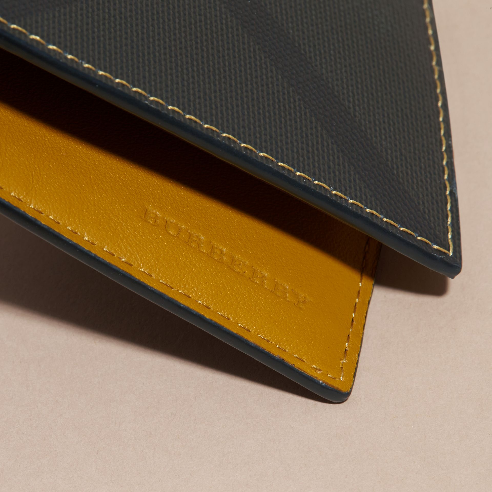 London Check and Leather Bifold Wallet in Larch Yellow - gallery image 2