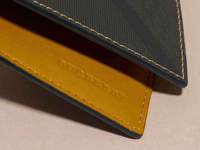 London Check and Leather Bifold Wallet in Larch Yellow - cell image 1