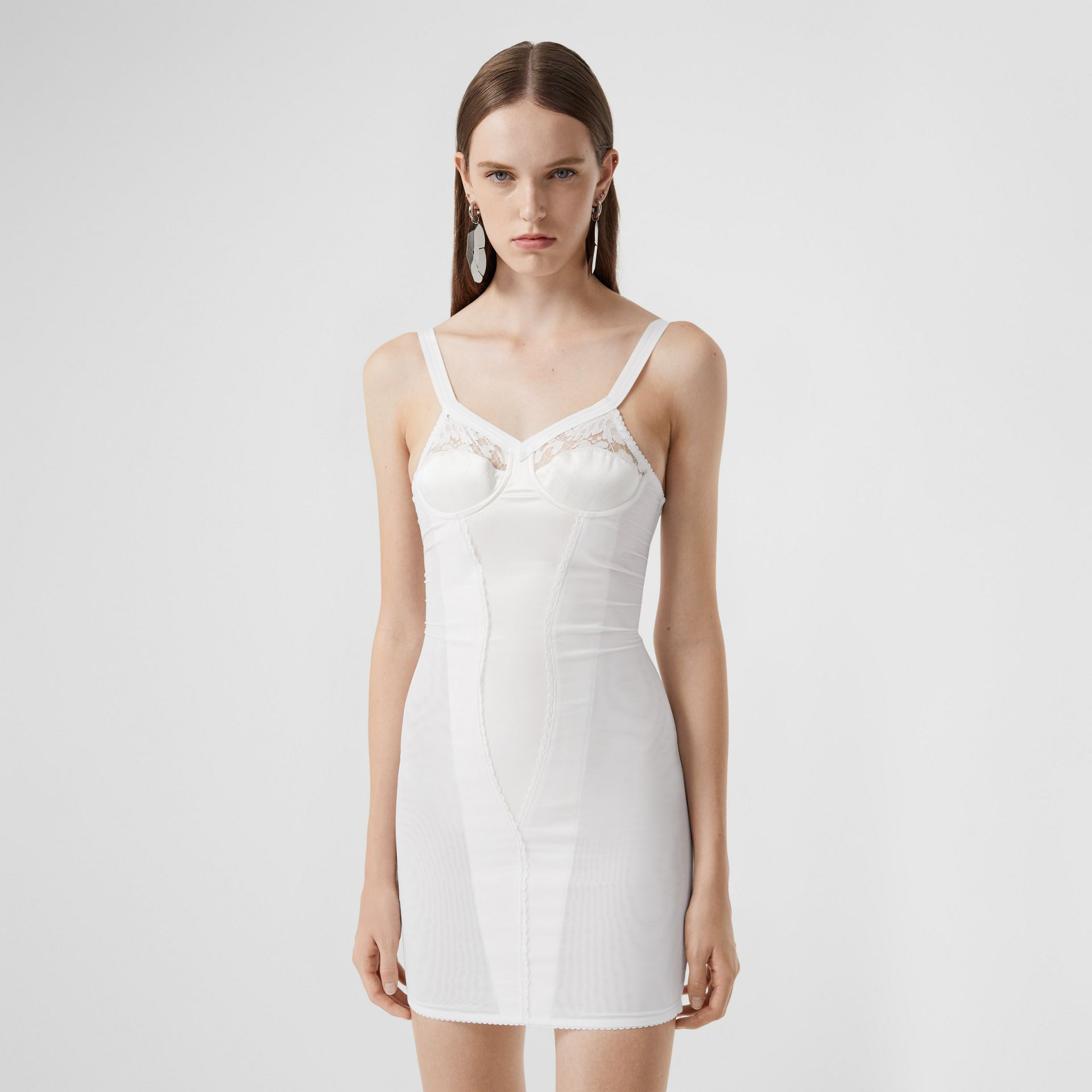Lace Detail Silk Satin and Mesh Corset Dress in Optic White - Women | Burberry United Kingdom - gallery image 4