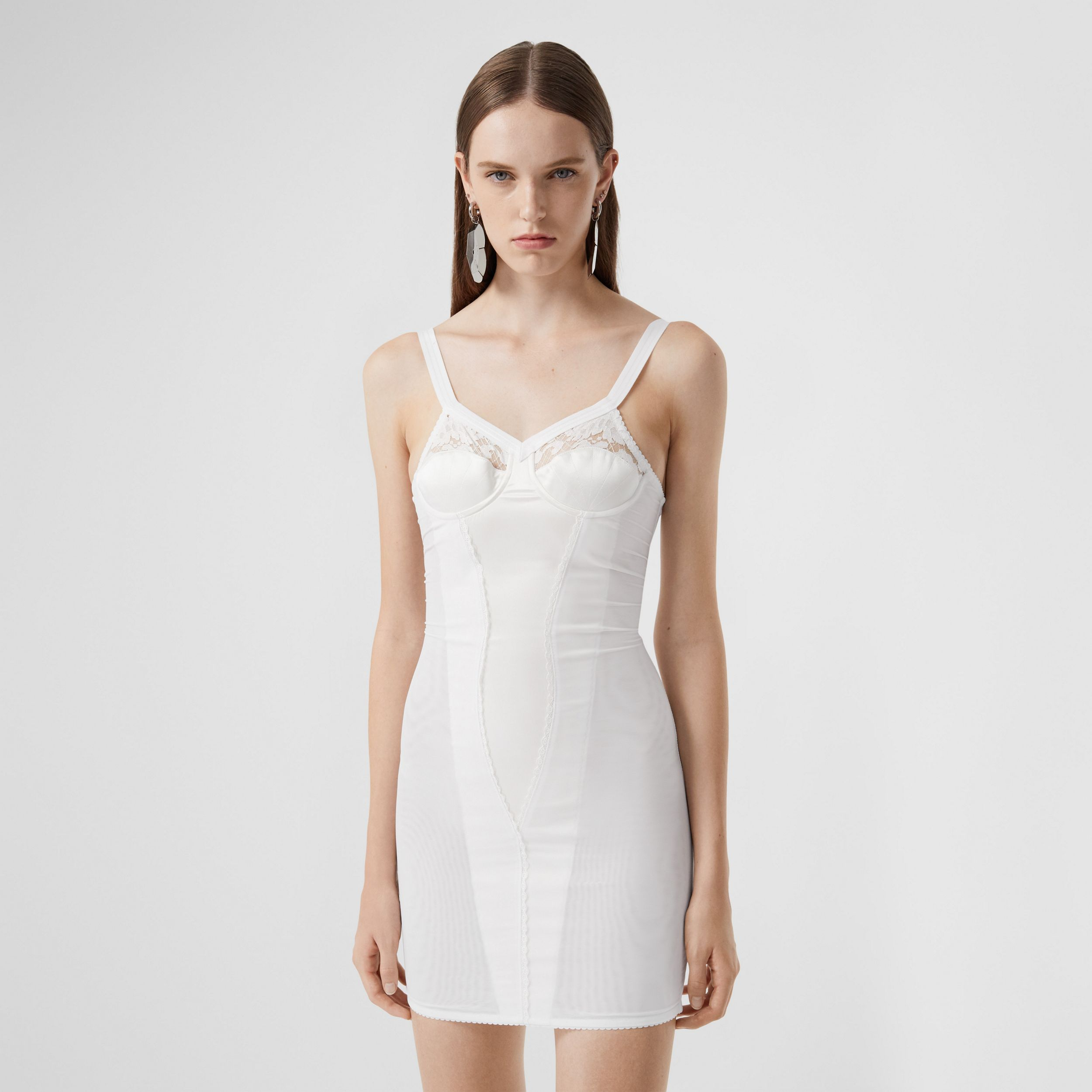 Lace Detail Silk Satin and Mesh Corset Dress in Optic White - Women | Burberry - 4