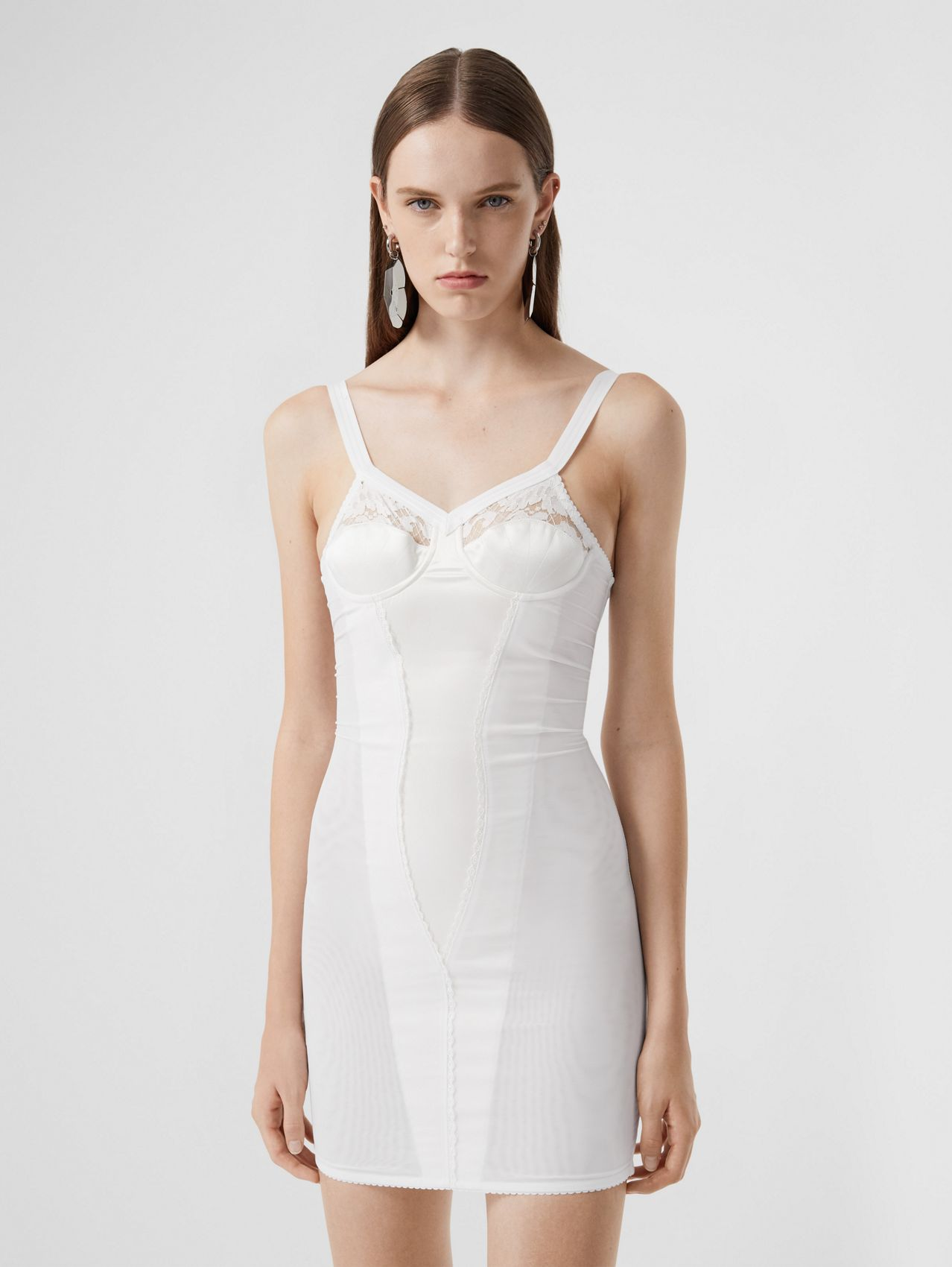 Lace Detail Silk Satin and Mesh Corset Dress in Optic White