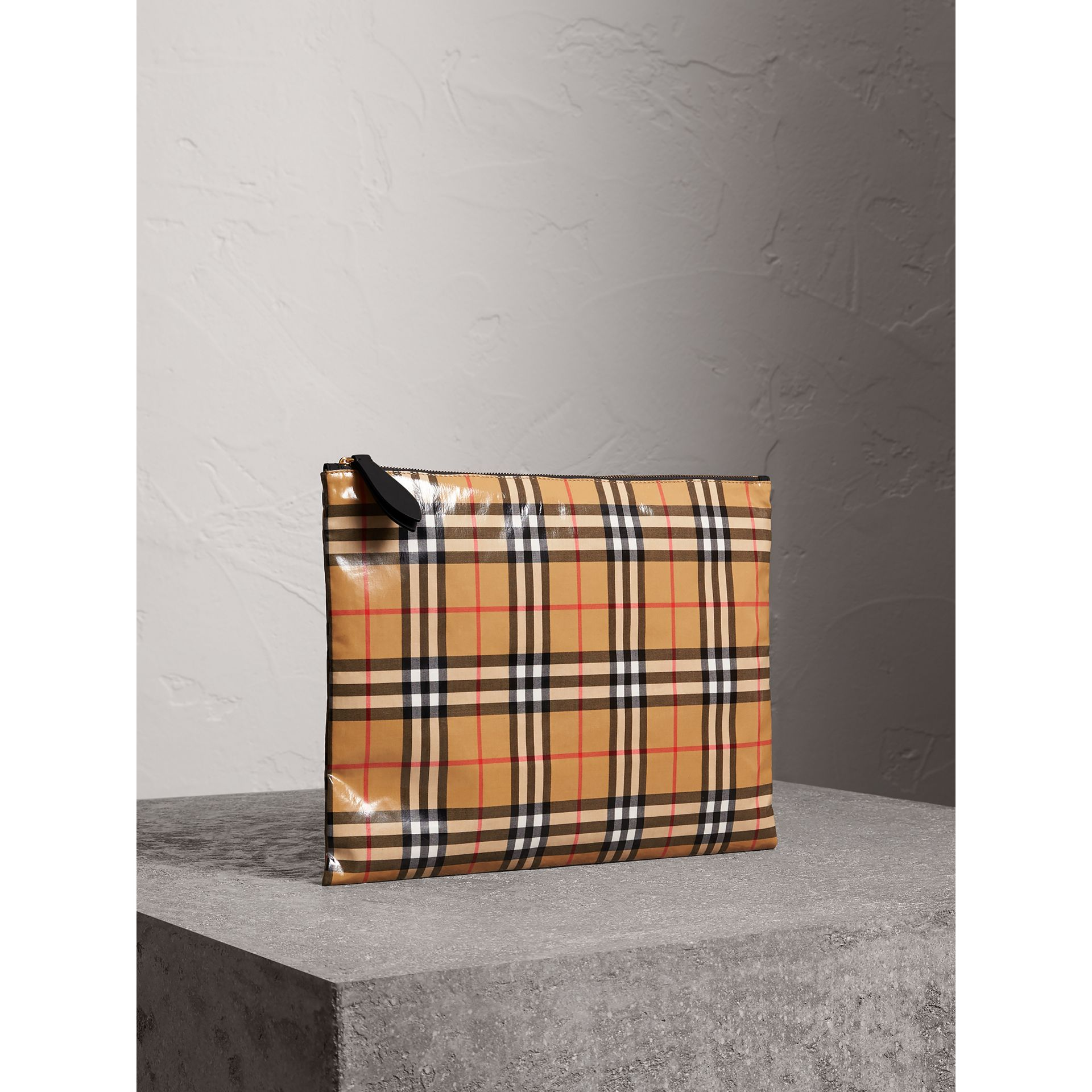 Large Coated Vintage Check Pouch in Black | Burberry Canada - gallery image 8