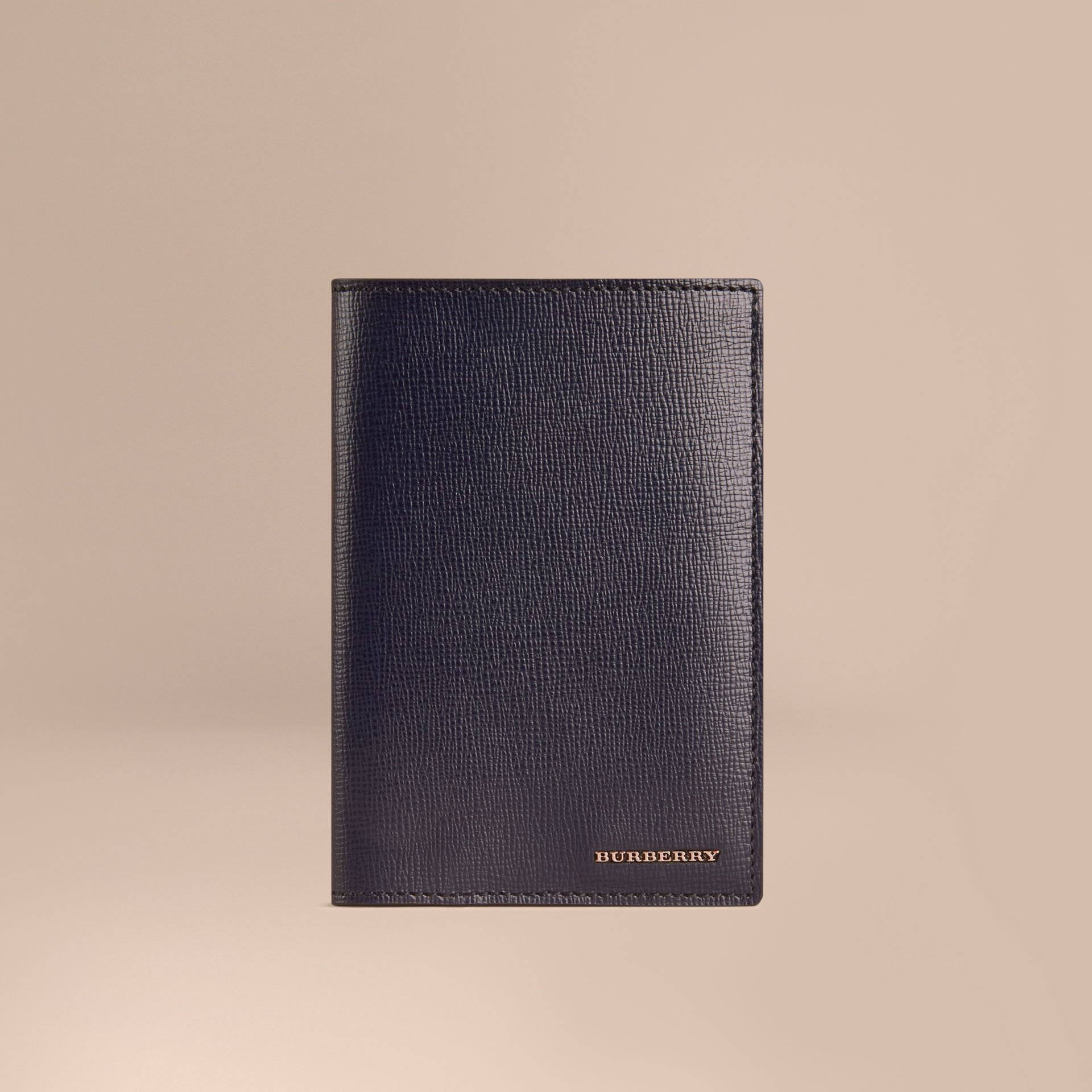 London Leather Passport Cover in Dark Navy - Men | Burberry - gallery image 1