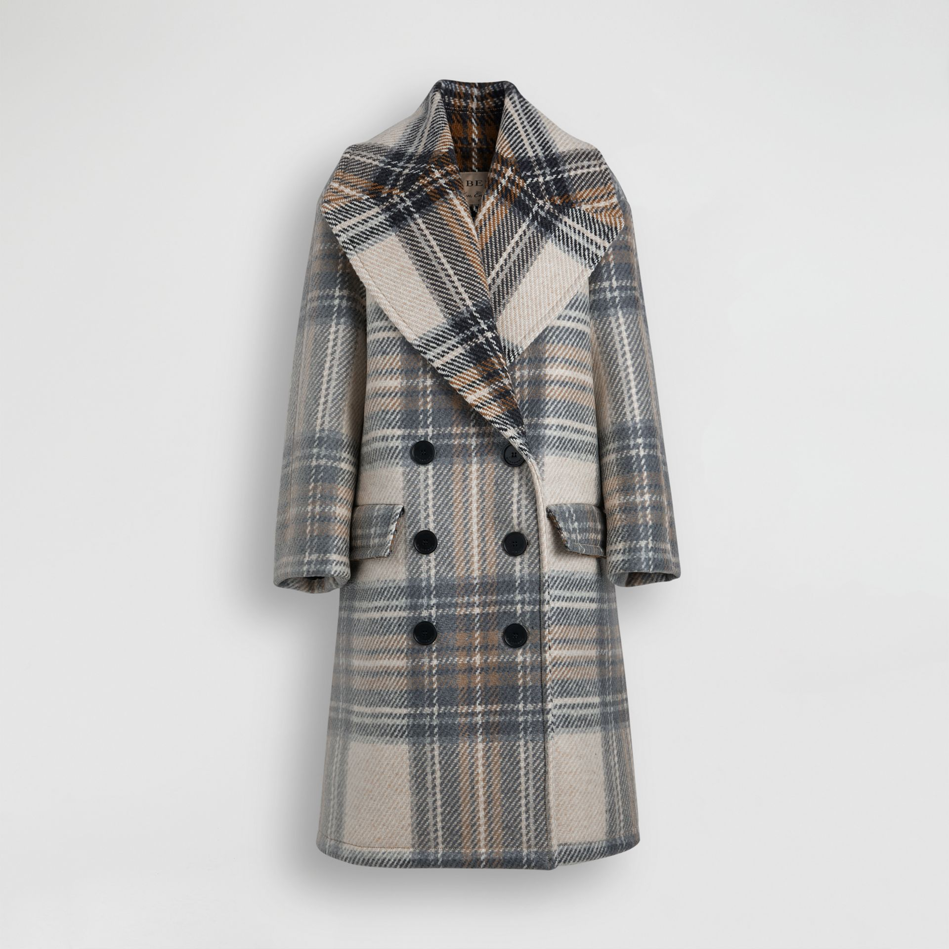 Check Wool Tailored Coat in Chalk White - Women | Burberry - gallery image 3