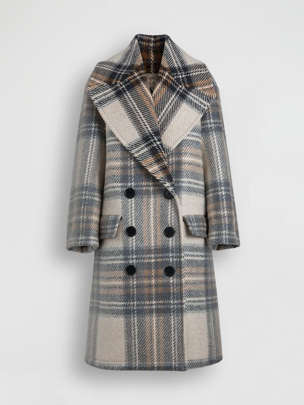 Check Wool Oversized Tailored Coat in Chalk White - Women | Burberry - cell image 3