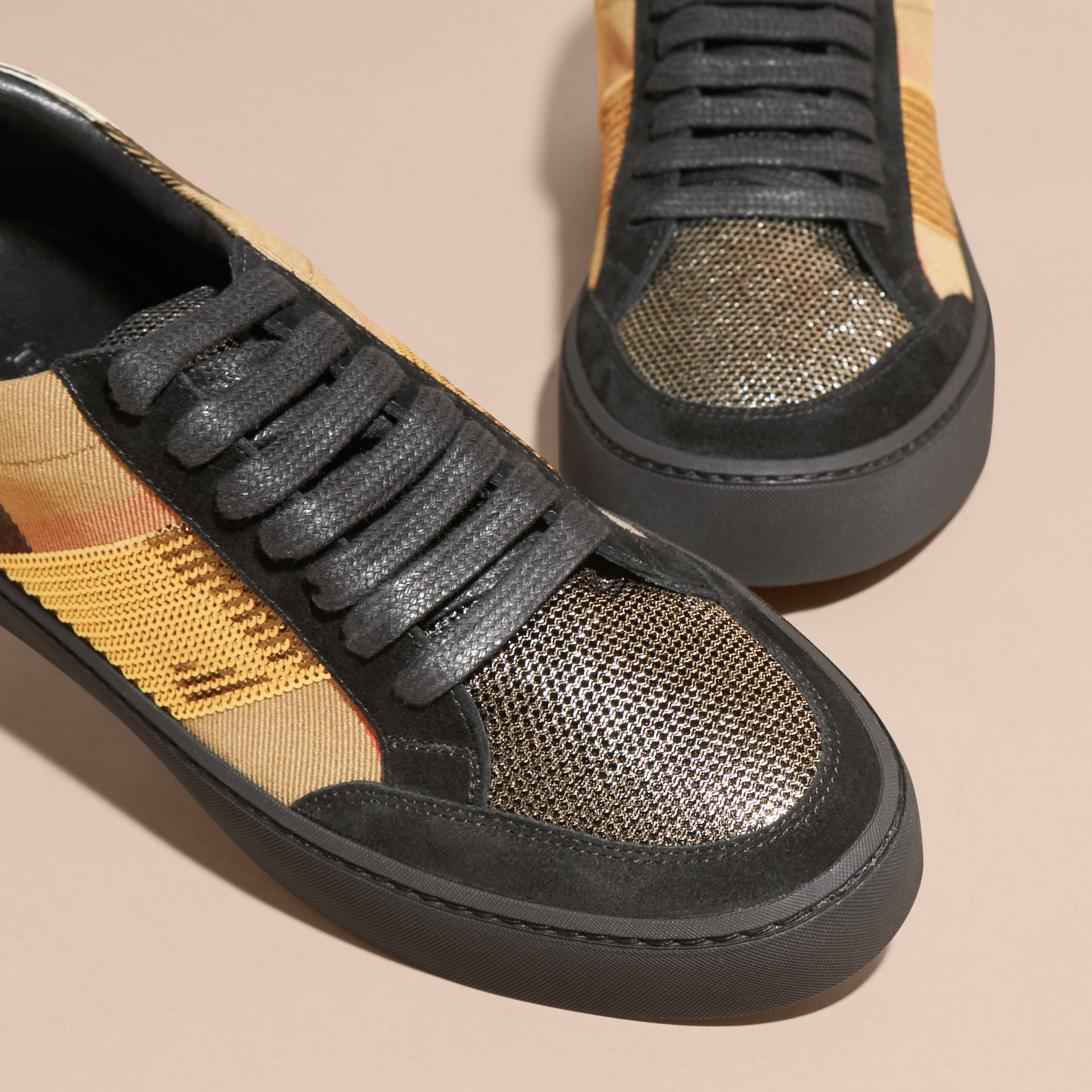House check/gold House Check, Sequin and Leather Sneakers Check/gold - gallery image 3