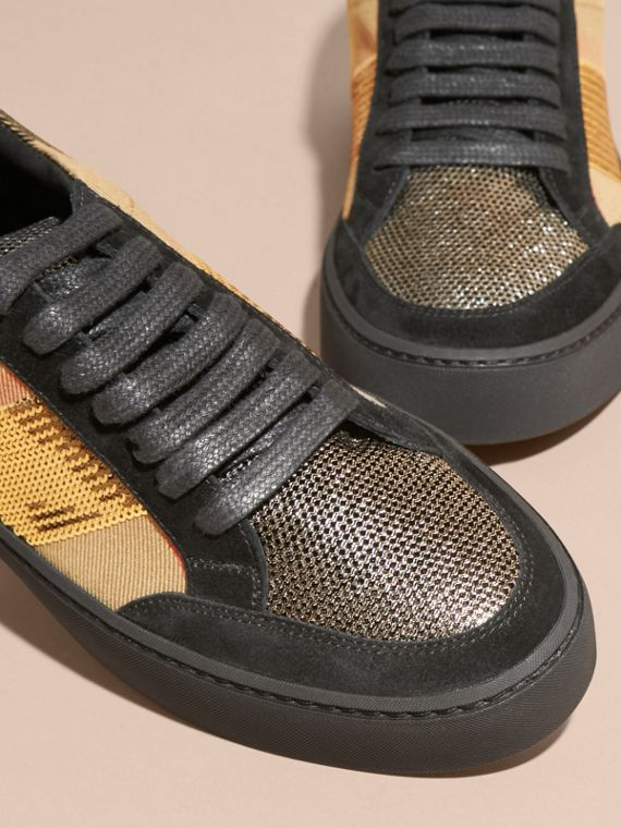 House check/gold House Check, Sequin and Leather Sneakers Check/gold - cell image 2