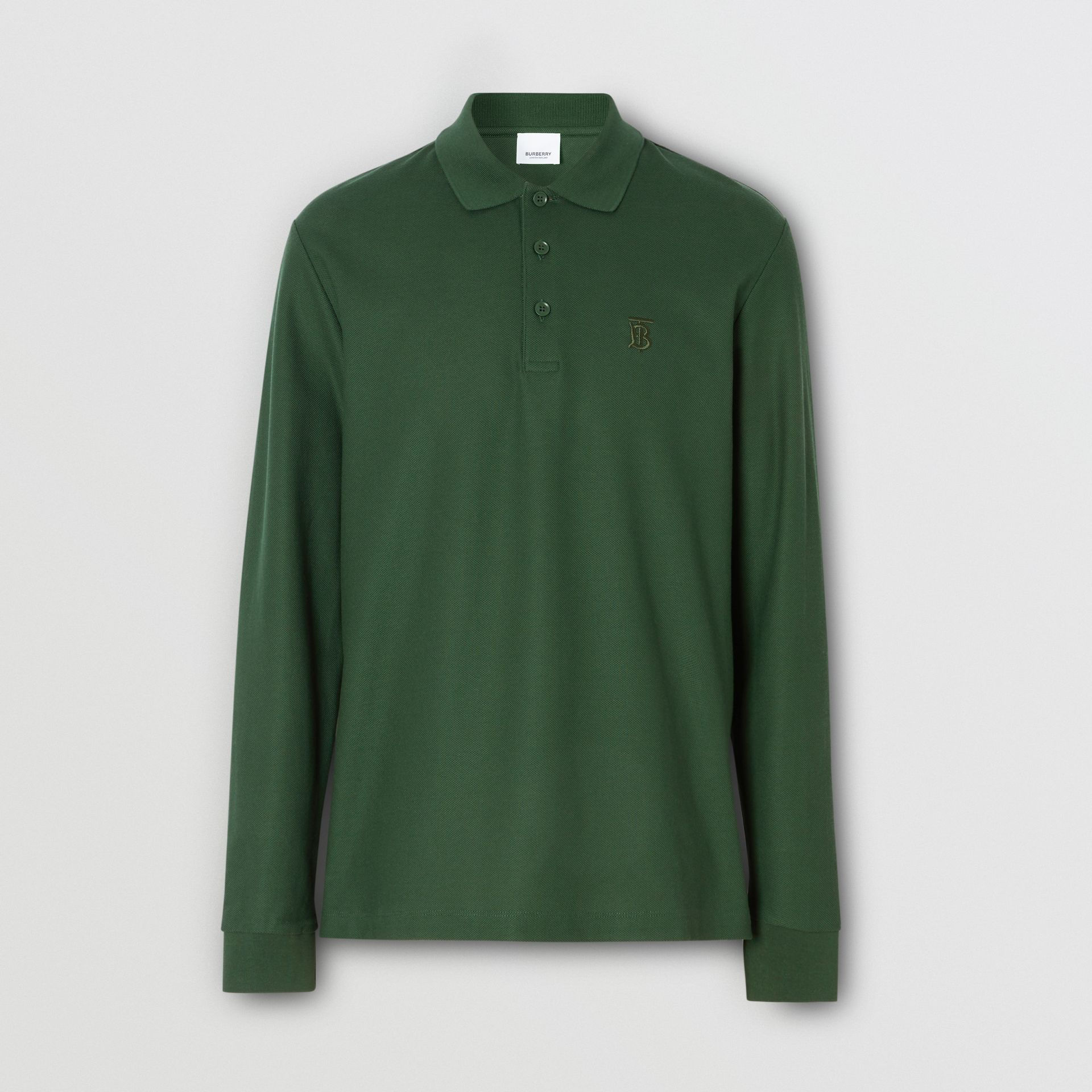 Long-sleeve Monogram Motif Cotton Piqué Polo Shirt in Dark Pine Green - Men | Burberry Canada - gallery image 3