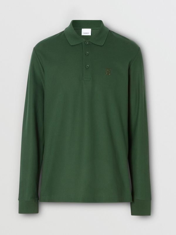 Long-sleeve Monogram Motif Cotton Piqué Polo Shirt in Dark Pine Green - Men | Burberry Canada - cell image 3