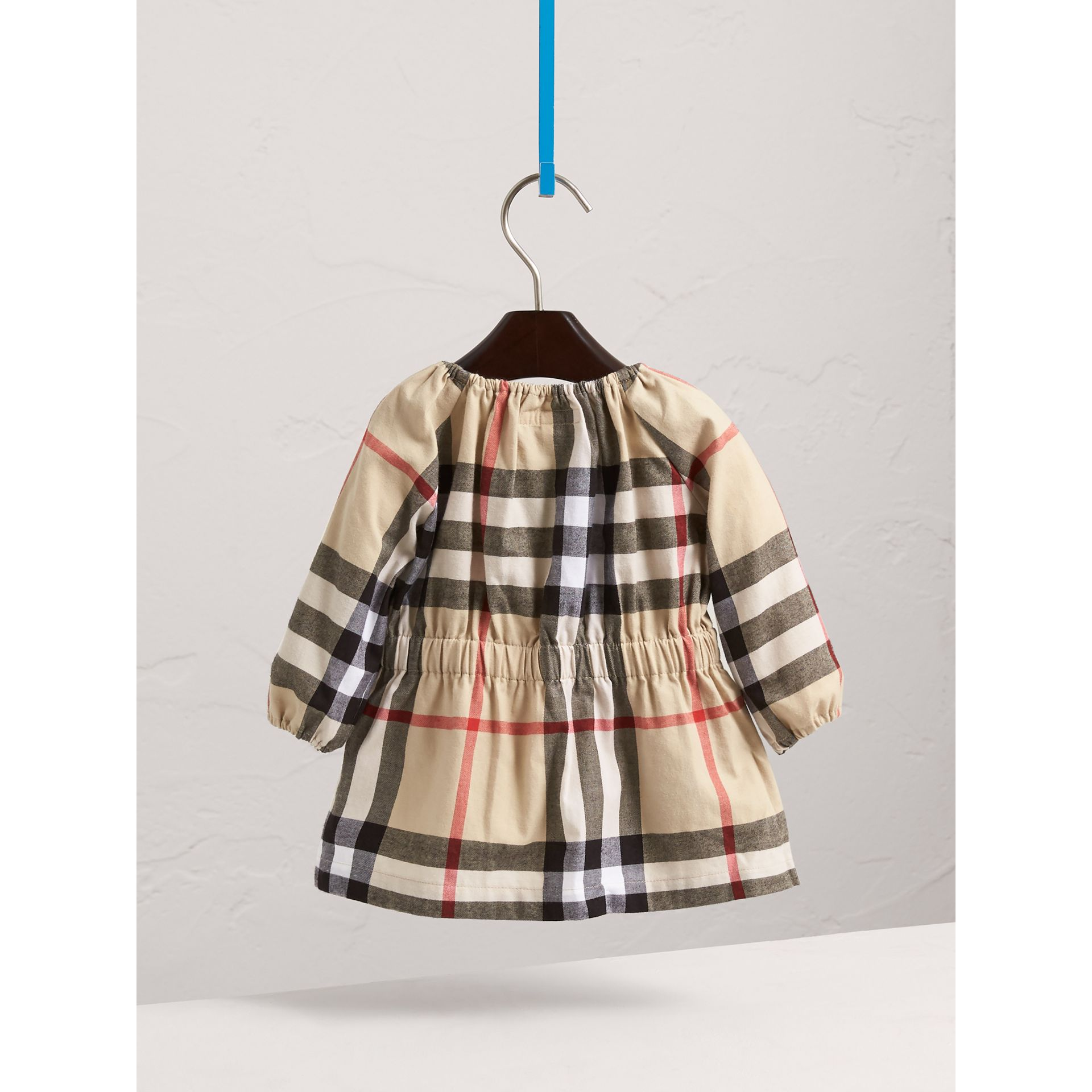 Gathered Check Cotton Flannel Dress in New Classic | Burberry - gallery image 4