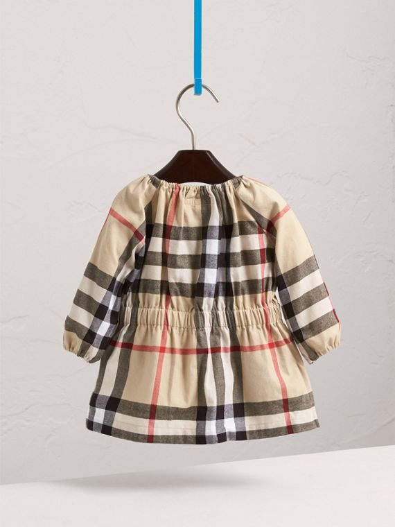 Gathered Check Cotton Flannel Dress in New Classic | Burberry - cell image 3